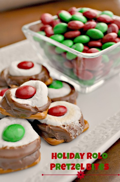 holiday rolo pretzel bites