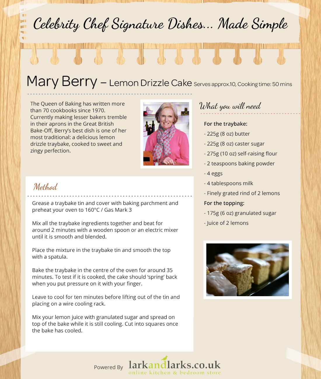 Lemon Drizzle Cake Recipe from Mary Berry and Lark and Larks UK!