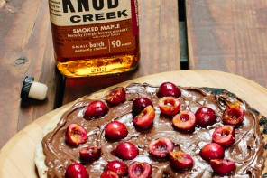 GRILLED CHERRY PIZZA WITH NUTELLA® HAZELNUT SPREAD AND KNOB CREEK® SMOKED MAPLE BOURBON INFUSED CHERRIES!!!