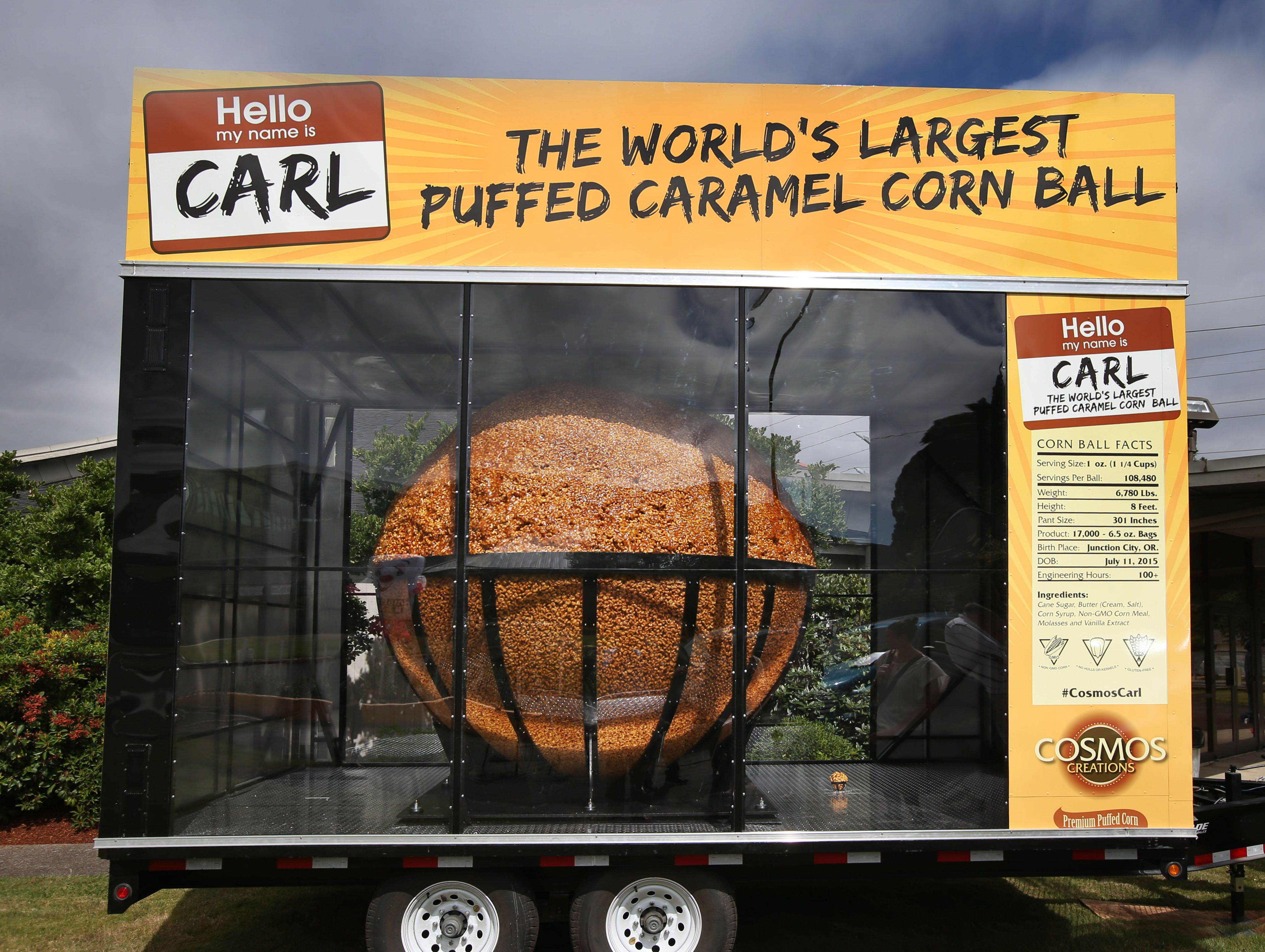 Cosmic Creations General Manager Ron Evans and his crew have created a world record breaking corn ball just in time for the Lane County Fair. (Chris Pietsch/The Register-Guard)